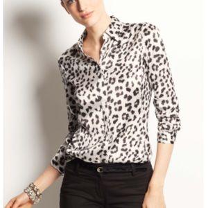 Ann Taylor Silk Animal Print Blouse Size 8